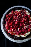 No flour chocolate cake with cream and berries Stock Image