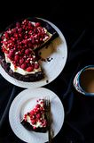 No flour chocolate cake with cream and berries Royalty Free Stock Photos