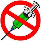 No Flu Shot. Cartoon illustration of a No Flu Shot Sign Royalty Free Stock Image