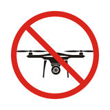 No fly drones sign. No fly zone, Drone sign isolated on white ba Stock Photography