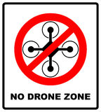 No fly drones sign. No fly zone, Drone sign isolated on white background, Vector illustration. Prohibition symbol in red Royalty Free Stock Photo