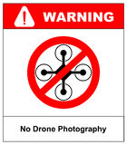 No fly drones sign. No fly zone, Drone sign isolated on white background, Vector illustration. Prohibition symbol in red Royalty Free Stock Images