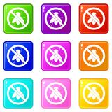 No fly sign icons 9 set Stock Photography