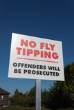 No Fly-Tipping Sign Royalty Free Stock Photos