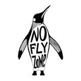 No fly zone. Penguin vector illustration Royalty Free Stock Photos