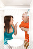 No food in fridge. Domestic disagreement about shared marital responsibilities royalty free stock photos