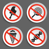 No food and ice cream signs on white round plate Royalty Free Stock Photography