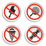 No food and ice cream signs on white round plate Stock Image
