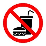No food stop eat or drink prohibition sign. Vector illustration stock illustration