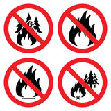 No forest fire icons, vector. Collection of no forest fire icons, vector Royalty Free Stock Images