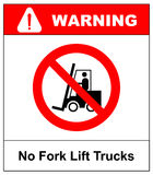 No forklift truck sign. Red prohibited icon isolate on white background. Symbol of Prohibit forklift in this area. No Stock Photo