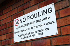 No fouling dog walkers notice. Royalty Free Stock Images