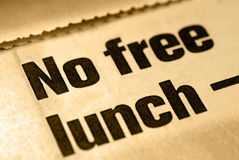 No Free Lunch. Selective Focus Macro of No Free Lunch News Headline Royalty Free Stock Images