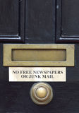 No free Newspapers or Junk mails Sign Royalty Free Stock Photo