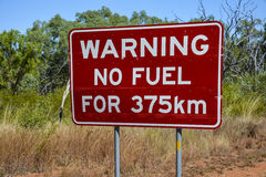 No fuel warning sign in the outback of Australia. No fuel (for 375 km) warning sign in the outback of Australia Royalty Free Stock Photography
