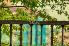 No fun no rules graffiti in prague over defocused background stock photography