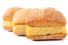 Sanduíches pequenos da tortilha espanhola (omeleta) fotografia de stock