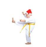 No fundo do branco um atleta bate o retrocesso isolado Fotografia de Stock