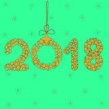 2018 no fundo verde, zero Fotos de Stock