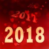 2018 no fundo vermelho dos corações Foto de Stock Royalty Free