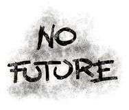 No future. Illustration of no future tag in grunge look Royalty Free Stock Photos