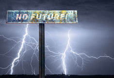 No future slogan on the road sign during storm Stock Photo