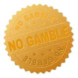 Gold NO GAMBLE Badge Stamp. NO GAMBLE gold stamp award. Vector gold medal with NO GAMBLE text. Text labels are placed between parallel lines and on circle royalty free illustration