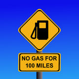 No gas for 100 miles sign Royalty Free Stock Images