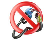 No Gasoline, nozzle fuel  sign ban. No Gas station icon Royalty Free Stock Photography
