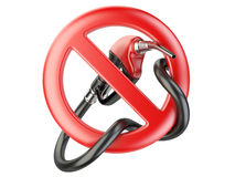 No Gasoline, nozzle fuel sign ban. No Gas station icon Stock Photography