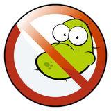 No germs allowed. A creative cartoon with a green creature representing a biological germ or virus and a red slash across it Stock Photos