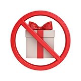 No Gift Concept sign icon Present box symbol Red prohibition sign Stop symbol isolated on white stock photo