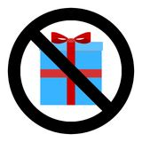 No gift and surprise. Ban giftbox ribbon, not holiday, prohibition christmas and birthday gifts. Vector illustration royalty free illustration