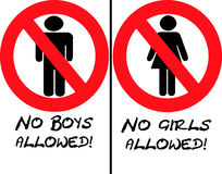 No Girls or Boys Allowed. Signs Royalty Free Stock Photography