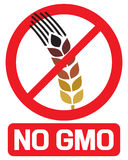 No GMO label. GMO prohibited sign, stop genetically modified foods icon stock illustration