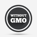 No GMO sign. Without Genetically modified food. No GMO sign icon. Without Genetically modified food. Stop GMO. Circle flat button with shadow and border. Vector Stock Photography