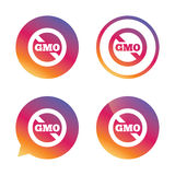 No GMO sign. Without Genetically modified food. No GMO sign icon. Without Genetically modified food. Stop GMO. Gradient buttons with flat icon. Speech bubble Royalty Free Stock Photography