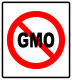 No GMO sign icon. Without Genetically modified food. Stop GMO. Red prohibition sign. Stop symbol. Vector illustration, text in red circle Stock Image