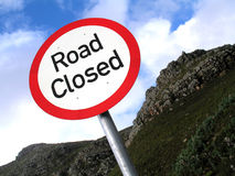 No go zone. Landscape photo of a road closure sign stock image