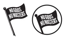 No Gods No Masters Black Flag Icons. Vector illustration of black anarchy flag with the words No Gods No Masters Stock Photo
