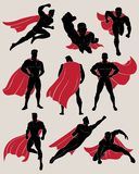 Set of Superhero in 9 Different Poses. No gradient used vector illustration Stock Photo