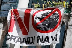 No Grandi Navi in Venice, Italy. No Grandi Navi written on a flag in Venice, Italy. No big ships allowed royalty free stock photos