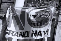 No Grandi Navi in Venice, Italy. No Grandi Navi written on a flag in Venice, Italy. No big ships allowed royalty free stock photo
