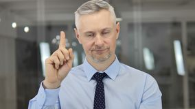 No, Grey Hair Businessman Rejecting and Disliking Offer stock footage