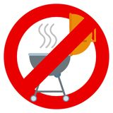 No grill zone prohibition sign vector illustration Stock Photos