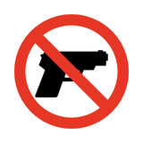 No gun sign. Prohibiting sign for weapons Stock Photos