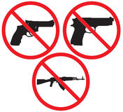No gun sign. Symbol No Gun. Illustration on white background Stock Photos