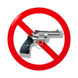 No guns. Weapon restriction sign in 3D. Isolated and grouped objects over white background Royalty Free Stock Images