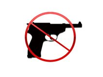 No Guns. A Red and black No guns symbol on a white background Royalty Free Stock Photography