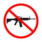 No guns allowed. Sign, abstract icon isolated on white background; vector art illustration Stock Photos
